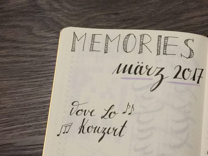 Bullet Journal Memories Seite