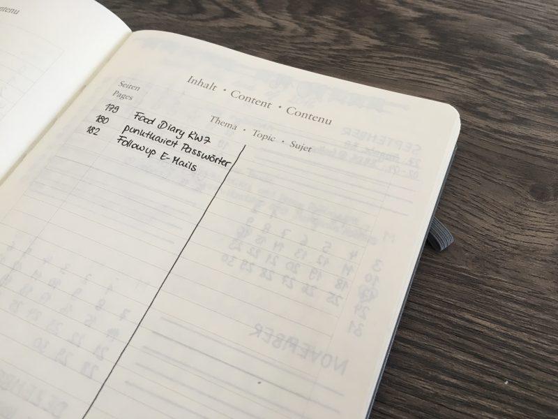 Bullet Journal Index in der Mitte geteilt
