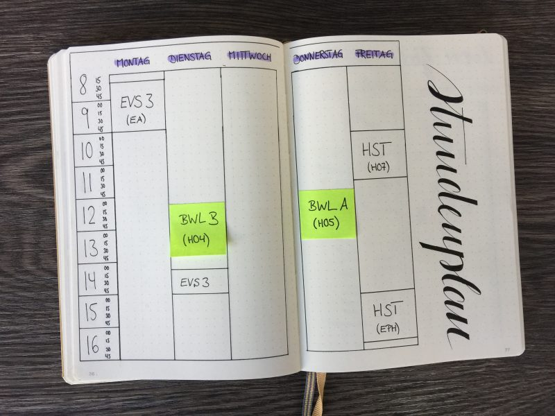 Bullet Journal für Studenten Stundenplan
