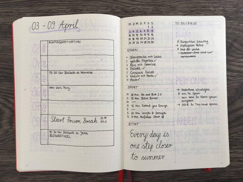 Bullet Journal Essensplan integriert in die Wochenübersicht