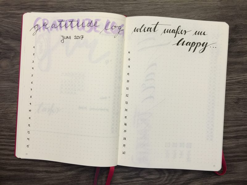 Bullet Journal Monatsübersicht Juni 2017 Gratitude Log