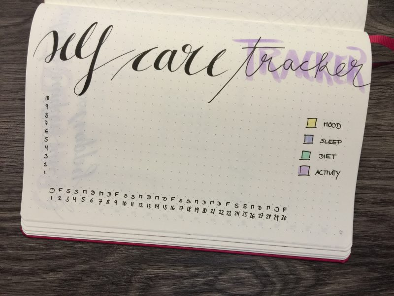 Bullet Journal Monatsübersicht Juni 2017 Self Care Tracker