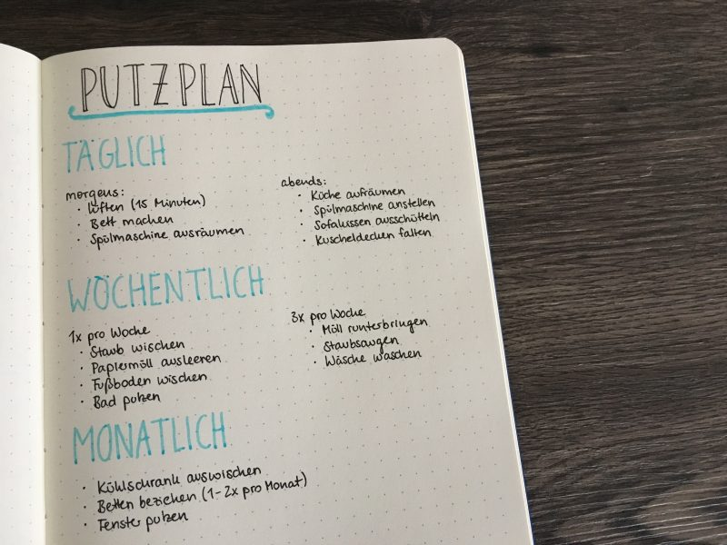 haushalt organisieren im bullet journal mit putzplan co. Black Bedroom Furniture Sets. Home Design Ideas