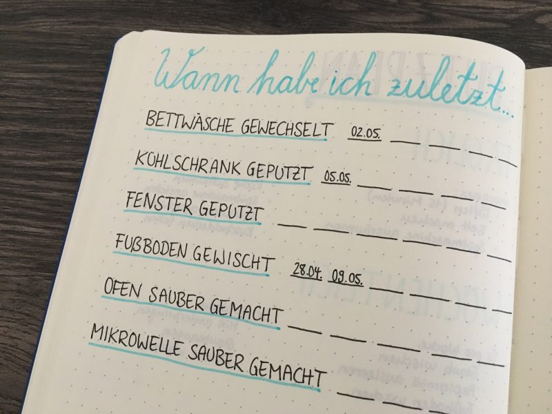 haushalt organisieren im bullet journal mit putzplan co punktkariert. Black Bedroom Furniture Sets. Home Design Ideas