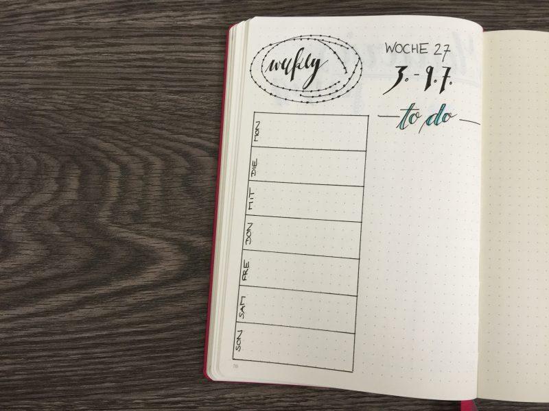 Monatsübersicht Juli Weekly