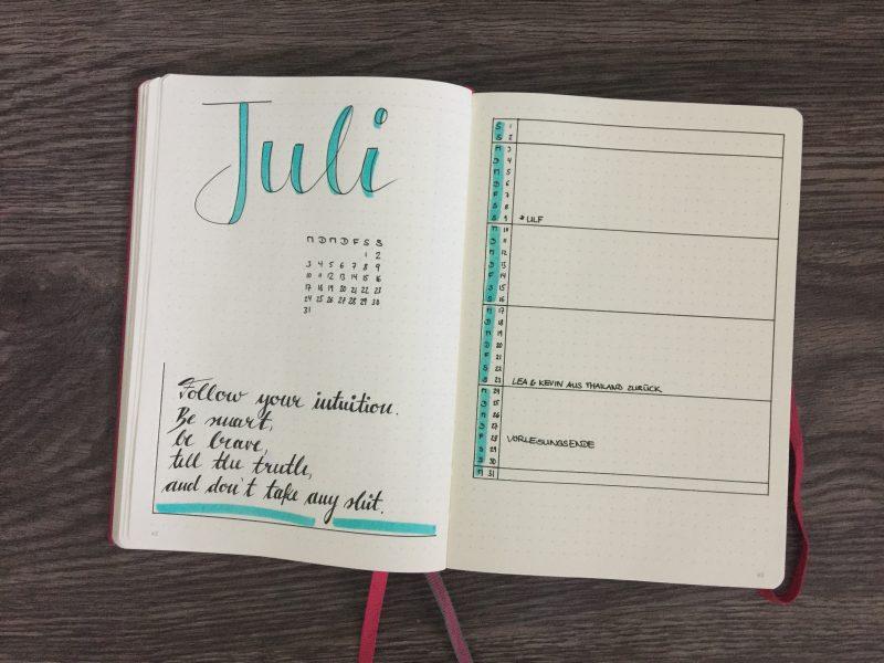 Monatsübersicht Juli Kalender