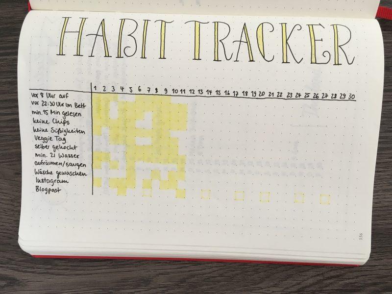 Halb ausgefüllter Habit Tracker für den Juni