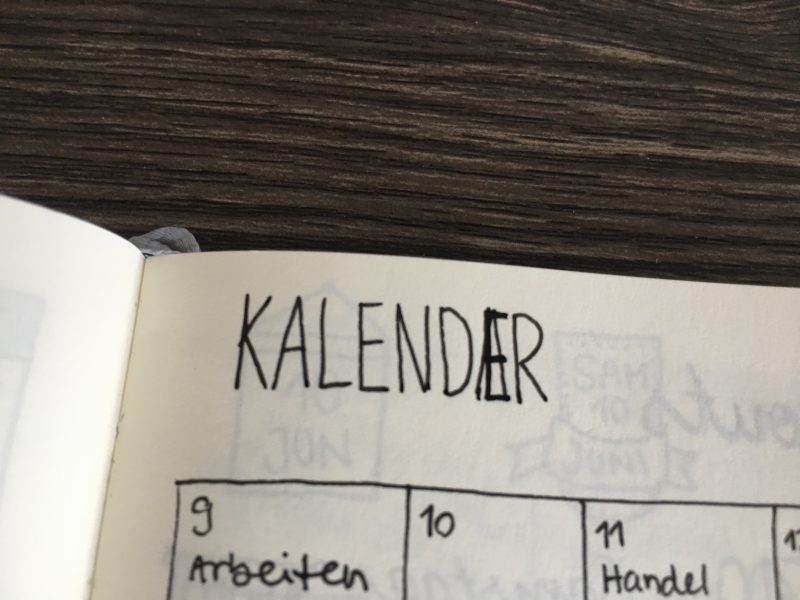 Verschrieben beim Wort Kalender