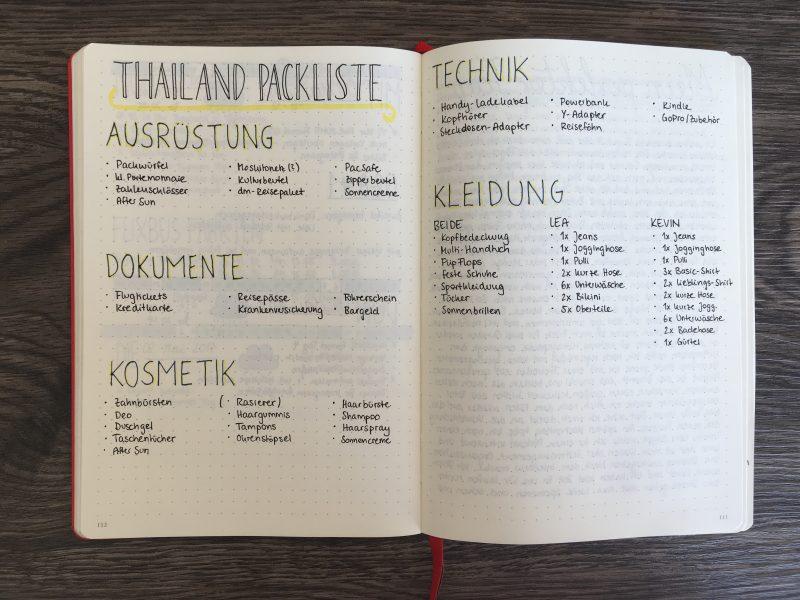 Packliste für die Thailand-Reise
