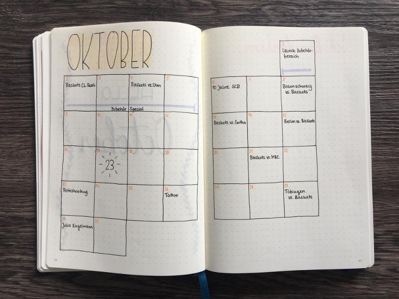 Bullet Journal Monatsübersicht Oktober 2017 in der Kalendervariante