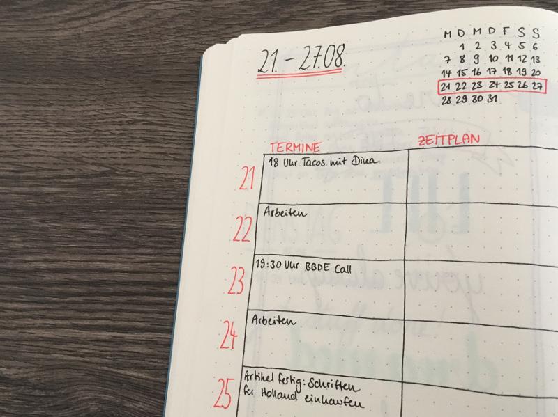 Fineliner von Staedtler in der Bullet Journal Wochenübersicht
