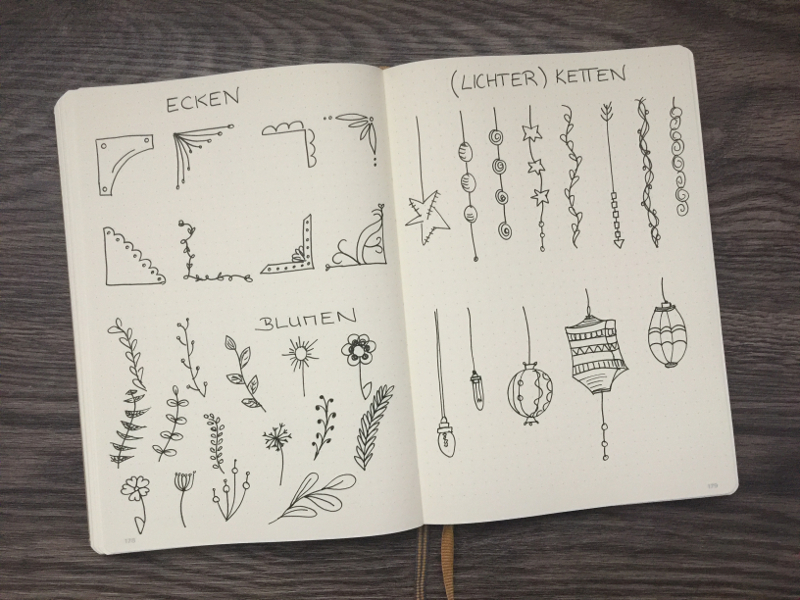 Dekoelemente Bullet Journal Blumen