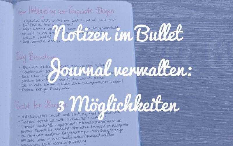 3 Möglichkeiten, wie du deine Notizen im Bullet Journal verwalten kannst
