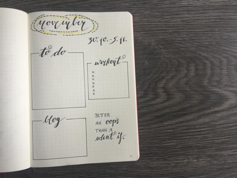 Monatsübersicht November erste Wochenübersicht