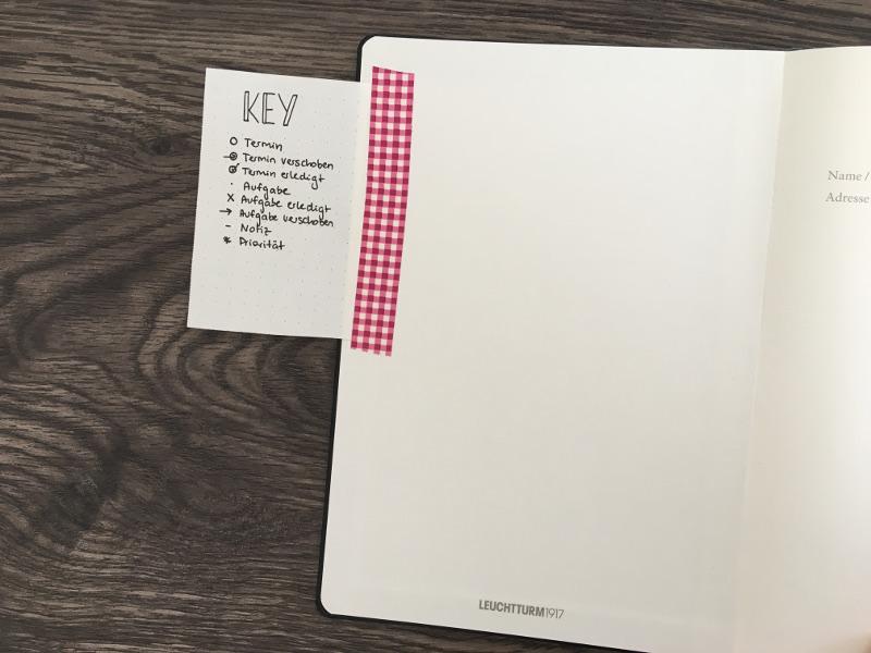 Bullet Journal Tricks: Key innen eingeklebt
