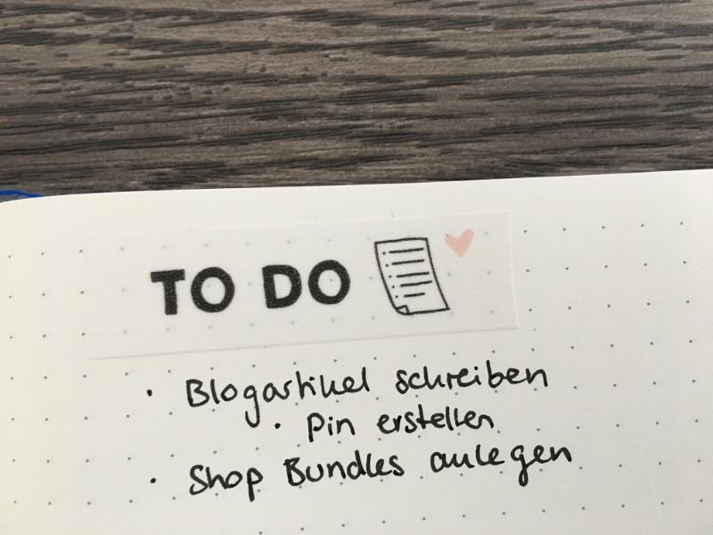 Bullet Journal Tricks: Washi Tape als Überschrift Ersatz