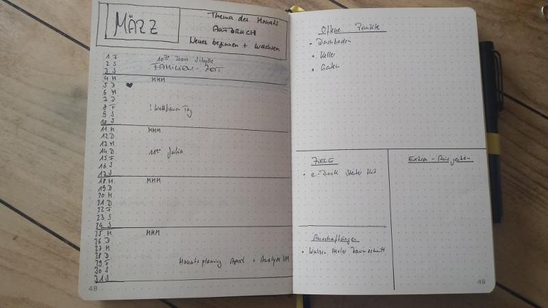 Bullet Journal im Mama-Alltag: Monatsübersicht